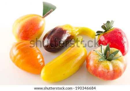Traditional italian pastry fruit shaped made of marzipan - stock photo