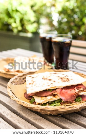 Traditional Italian piadina - stock photo
