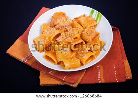 traditional italian recipe Amatriciana. closeup shoot. - stock photo
