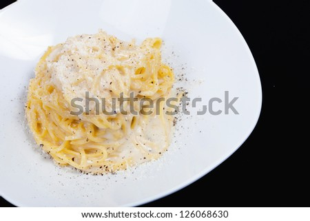 traditional italian recipe cheese and pepper spaghetti - stock photo