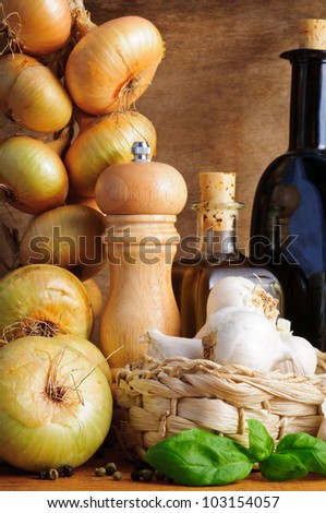 Traditional italian seasoning and cooking ingredients