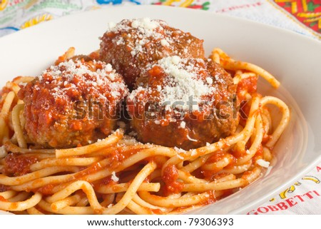 Traditional Italian spaghetti and meatballs