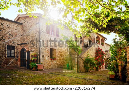 Traditional Italian villa, Tuscany, Italy - stock photo