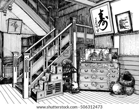Line Art House : Traditional japan house room black white stock illustration