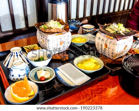 traditional Japanese breakfast set  - stock photo