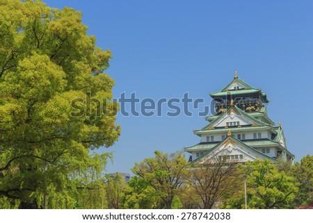 Traditional japanese castle in Osaka, Japan. - stock photo