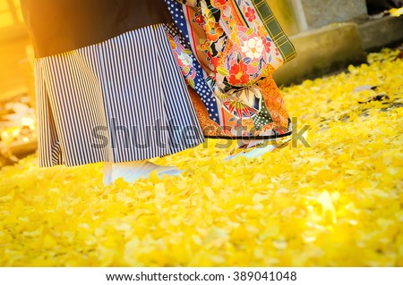Traditional japanese ceremony wedding lovely day, young married couple wear kimono under golden ginkgo leaves withs shining sunlight in shrine temple at autumn season - stock photo