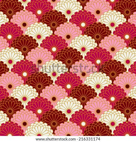 Traditional japanese Chrysanthemum flower pattern background - stock photo