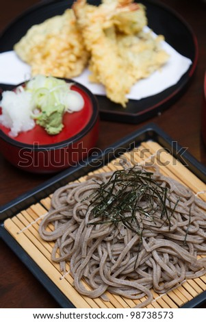 Traditional Japanese food , cold soba and fry shrimp