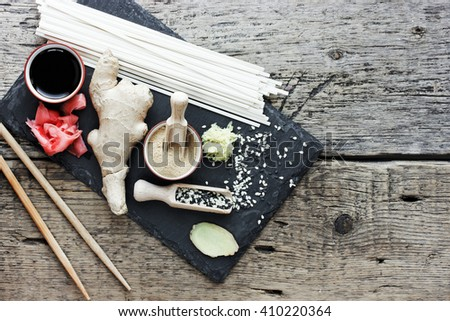 Traditional japanese food ingredients top view blank space for text - stock photo