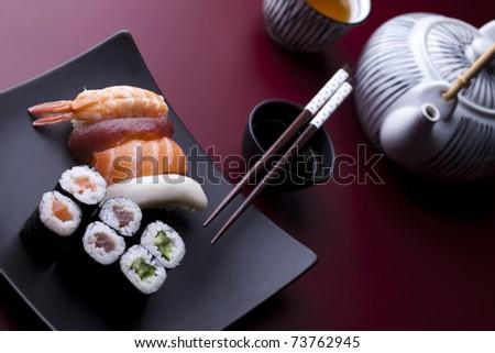 Traditional japanese food, Sushi - stock photo
