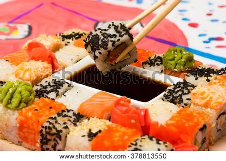 Traditional Japanese food Sushi. Closeup japanese sushi - stock photo