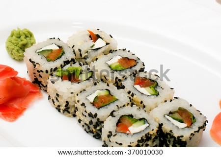 American sushi alaska roll salmon isolated stock photo for Alaskan cuisine traditional