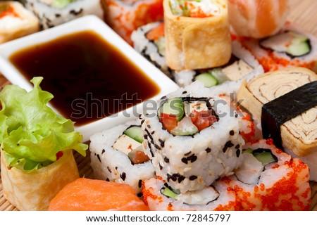Traditional Japanese food Sushi. Closeup japanese sushi. Sushi collection - stock photo