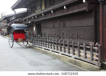 Traditional Japanese rickshaws in Takayama Japan. This type of transportation was once common place but is now only a special occasions or tourist activities.