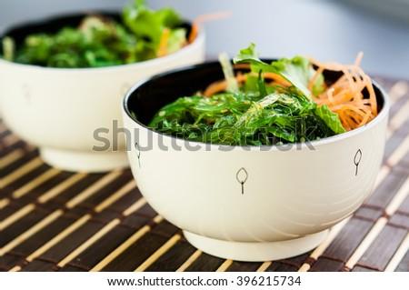 Traditional Japanese seaweed salad  - stock photo