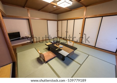 Traditional Japanese Style Living Room In A Hotel Guest Room