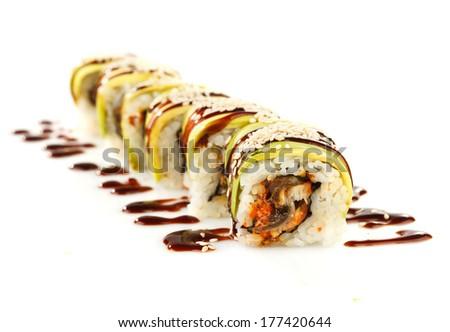 Traditional japanese sushi isolated on white background - stock photo