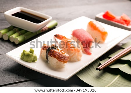 Traditional japanese sushi with fish and rice - stock photo