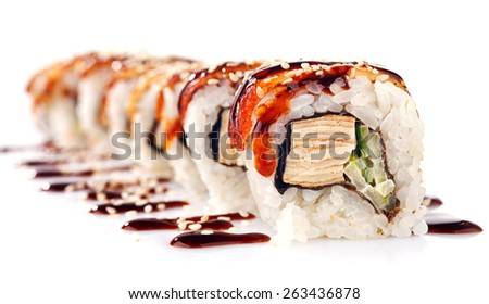 Traditional japanese sushi  with sauce isolated on white background