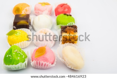 Traditional Japanese sweet confectionery locally known as wagashi over white background