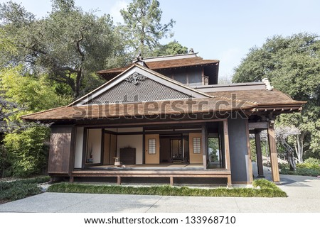 Traditional Japanese Tea House and Garden - stock photo