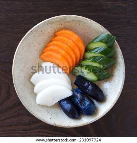 Traditional Japanese vegetable pickle , cucumber , carrot , radish , eggplant - stock photo
