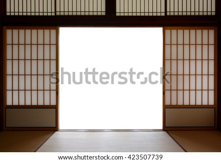 Traditional Japanese wood and rice paper doors and tatami mat flooring & Traditional Japanese Wood Rice Paper Doors Stock Photo 423507739 ... pezcame.com