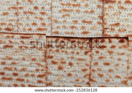 Traditional Jewish holiday food - Passover matzo background - stock photo