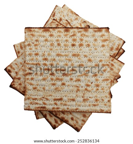 Traditional Jewish holiday food - Stack of Passover matzo - stock photo