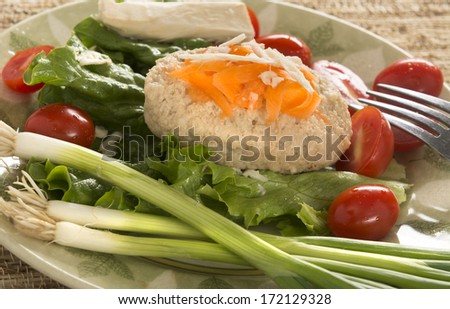Traditional Jewish Passover dish Gefilte Fish on Plate - stock photo