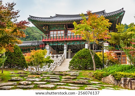 Traditional korean architecture old building or monks temple in South Korea at autumn