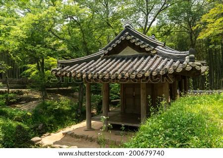 Traditional Korean garden taken during summer. Sosewon, South Korea - stock photo