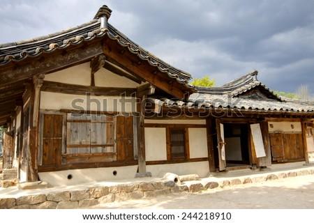 Traditional korean wooden house - stock photo