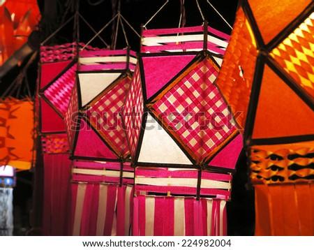 Traditional lanterns on street for Diwali festival, Mumbai, India. Circa October 2014. - stock photo
