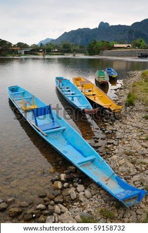 Traditional Laos longtail boat at Song river,Vang Vieng, Laos