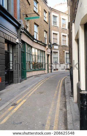 Traditional London Back street with Double Yellow Lines - stock photo