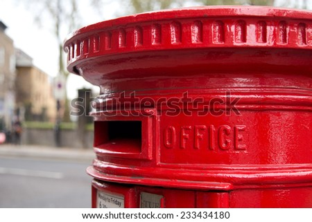 traditional london red letter box - stock photo