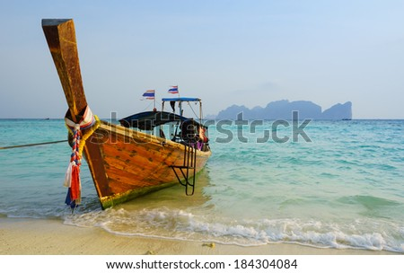 Traditional longtail boat in on Koh Phi Phi Don Island, Krabi, Southern of Thailand