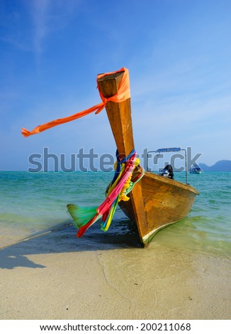 Traditional longtail boat on Koh Phi Phi Island, Krabi, Southern of Thailand - stock photo