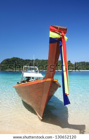 Traditional longtail boats in Koh Rok or Rok island, Thailand