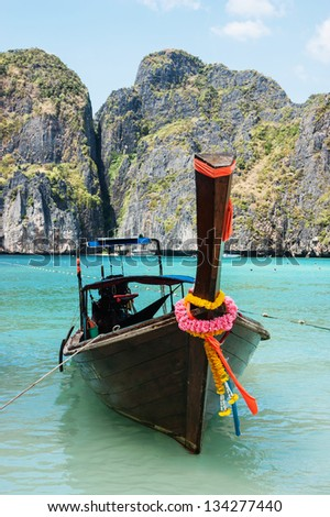 Traditional longtail boats in  Phi-phi Leh island, Thailand - stock photo