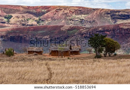 Traditional Madagascar landscape with malagasy huts. Deforestation in Madagascar creates agricultural or pastoral land but can also result ecology problem with soil and water. Mahajanga, Madagascar