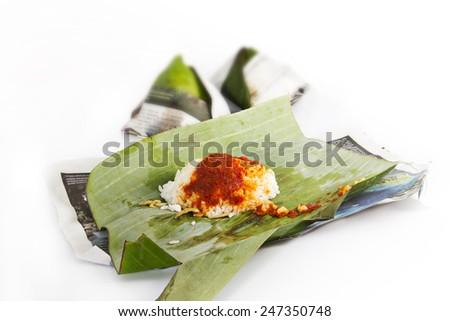 "traditional malay food in malaysia ""nasi lemak""  - stock photo"
