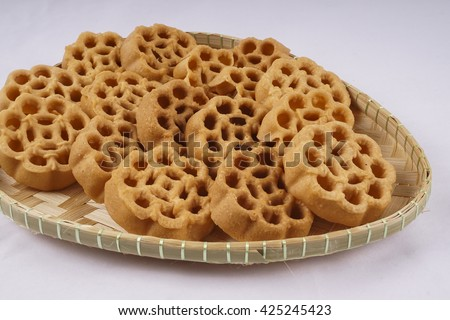 Traditional Malaysian cookies snack for Eid Fitr, Eid Adha and Ramadhan on isolated white background. DOF and Copy space