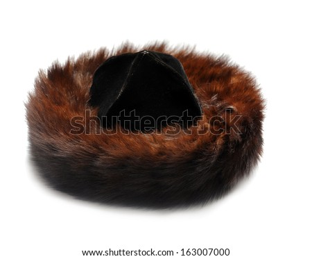 Traditional male jewish fur hat over white - stock photo