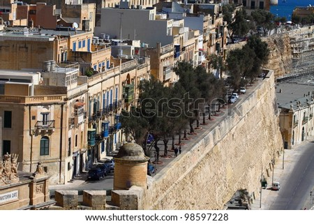 Traditional Maltese architecture in Valletta, Malta - stock photo