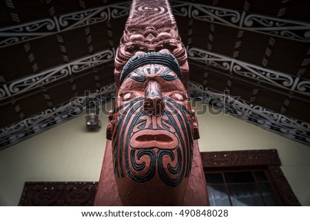 Traditional Maori carving at Whakarewarewa marae (meeting ground) in Rotorua, New Zealand.