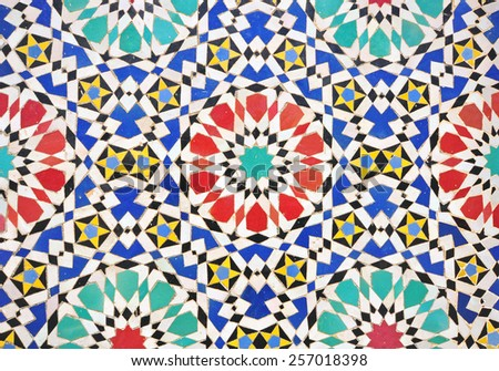 Traditional marrocan tiles background - stock photo