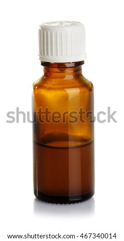 Traditional medicine and beauty treatment:  essential oil bottle  isolated on white background